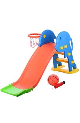 Гірка YTE00199 пластик, баскетбольне кільце, м'яч, сітка, насос, 162-51-75 см.