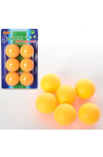 Тенісні кульки MS 0226 40мм безшовні, упаковка 6 шт., лист, 10,5-17,5-4 см
