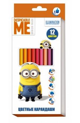 Кольорові олівці 12 кольорів, ТМ Despicable Me © Universal Studios