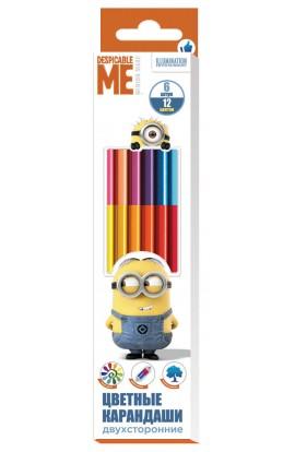 Кольорові олівці двусторонні 6шт/12кол , ТМ Despicable Me © Universal Studios