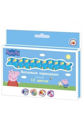 Воскові олівці товсті 12 кольорів, ТМ Peppa Pig