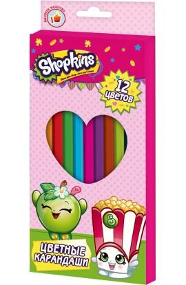 Кольорові олівці 12 кольорів, ТМ Shopkins