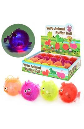 М'яч дитячий MS 0913 пискавка, світло, довга ручка, гума, 4 кольори, 20 шт., диспл., 34-26-7,5 см