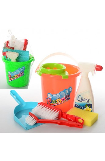 Набір для прибирання 089-1 відро, совок, щітки, губка, миючий засіб, 2 кольори, сітка, 17-20-17 см