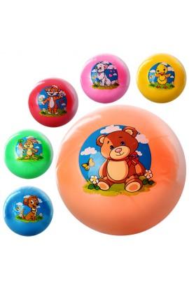 М'яч дитячий MS 0474  9 дюймов, одностікерний, ПВХ, 6 видів, тварини