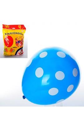 Кульки надувні MK 1039-1 12'', принт (горошок), мікс кольорів, 50 шт., кул., 20-18-2 см.