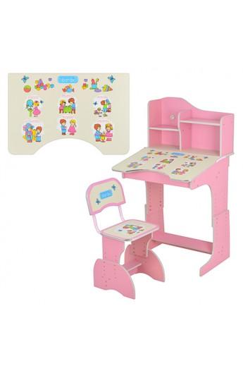 Парта HB 2071 UK-02-7 регулюється висота, стілець, рожевий, кор., 71-70-90 см.