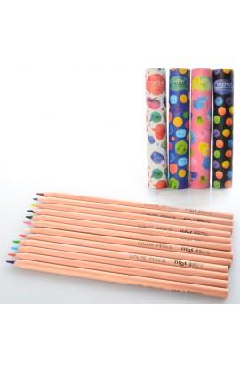 Олівці BLS 2177 кольорові, 12 цв., 4 види, тубус, 19,5-3,5 см.