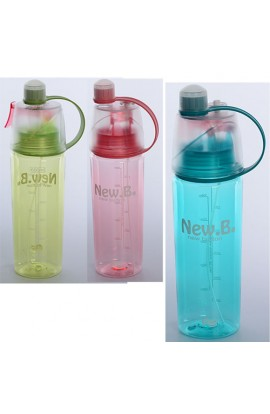 Пляшка MS 1221 спортивна, бризкалка, 0,6 л., 3 кольори, кул., 26,5-9-7 см.