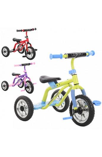 Велосипед M 0688-3 три колеса, сіро-зелений, фіолетово-рожев., червоно-жовт., синьо-черв.