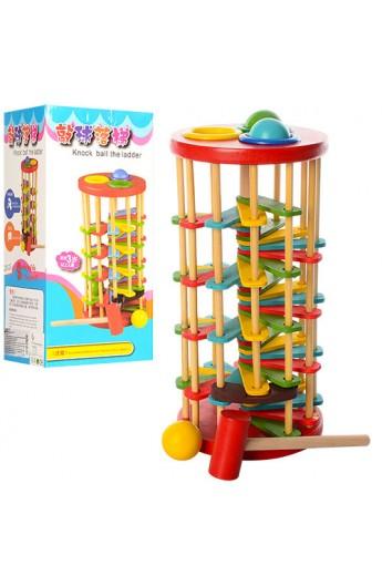 Дерев'яна іграшка стукавка QZM-0205 молоточок, кул., кор., 13-29-13 см.
