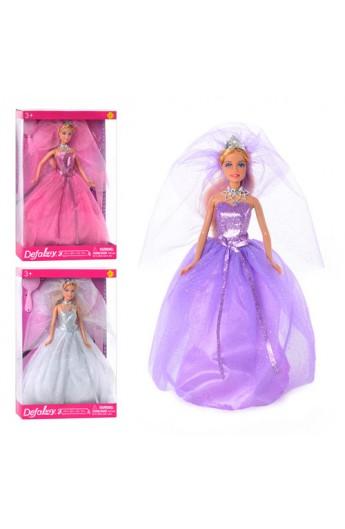 Лялька DEFA 8253 3 кольори,  підставка, гребінець, туфлі, кор., 33-22-5,5 см