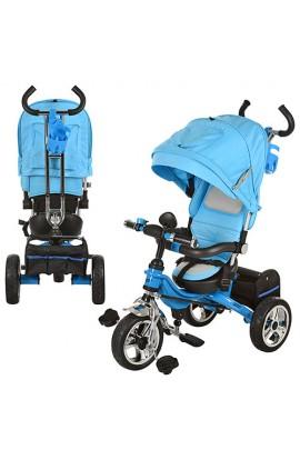Велосипед M 2732A-2 три колеса, гума, колясочний, регул. спинка, род.ручка, гальмо, блакитний