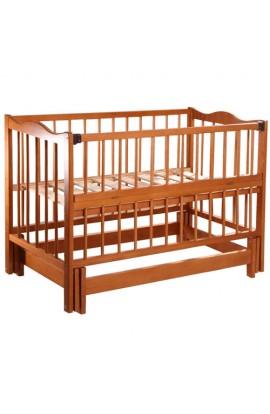 """Ліжечко дитяче """"Ангеліна-2"""" тм""""Кузя"""" шарнір-підшибн.з відкидною боков.бук (Кальвадос)"""