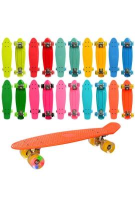 Скейт MS 0848-2 пенні, алюм. підвіска, кол. ПУ, підш.ABEC-7, 8 кольорів, світло, 55-14,5 см.