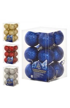 8104 Кульки ялинкові, пластик, 5см, 12шт/наборі