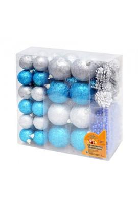 8259 Іграшки ялинкові, пластик, 62шт/наб