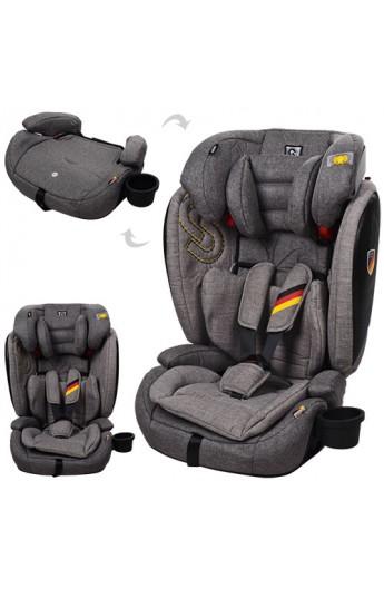 Автокрісло YY11-11 дитяче, 2 в 1, группа1-2-3, ремені безпеки, регул. підгол., льон, сіро-бежевий.