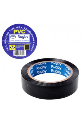 Ізоляційна стрічка ПВХ 10м  Rugby  чорна, RUGBY 10m  Black