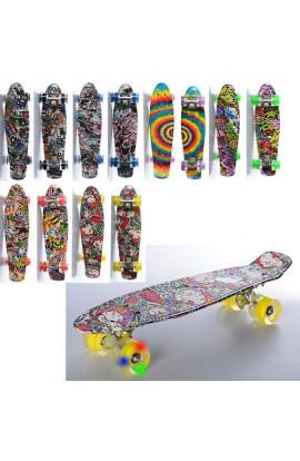Скейт MS 0748-5 пенні, алюм. підвіска, колеса ПУ, фотопринт, 8 видів, світло, кул., 56,5-15 см.