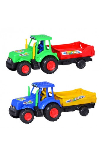 Трактор 099 2 кольори, з причепом, кул., 23 см