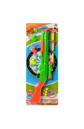Рушниця 208-2 м'які кулі-присоски 3 шт., кулі 6 шт., качечки-мішені 3 шт., лист, 56,5-21,5-3 см.