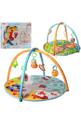 Килимок для немовляти 023-40-41 круглий, дуги 2 шт., підвіски 5 шт. (дзеркало), 2 види, кор., 62-46,
