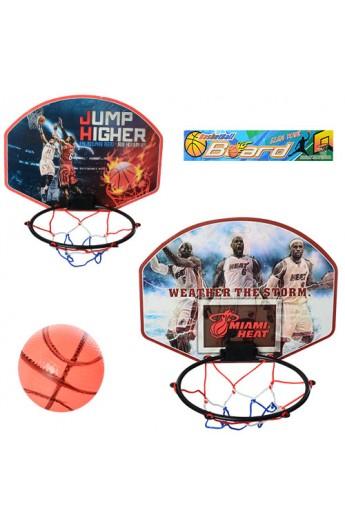 Баскетбольне кільце M 5437 щит, кільце, сітка, м'яч, голка, 2 види, кул., 30-28-2 см.